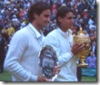 2008 Wimbldeon - Rafael Nadal and Roger Federer Hold Trophies