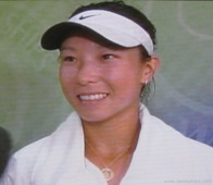 2008 Wimbldeon - Zheng Jie after beating Ivanavic