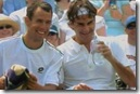 2008 Wimbldeon - Federer and Hrbaty share a laugh