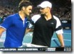 australian open 2009 -  federer and roddick embrace at net