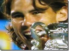 australian open 2009 - nadal bites trophy