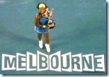 australian open 2009 -  serena williams holds trophy above melbourne on-court sign