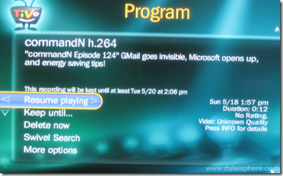 commandN.tv Podcast Info Sceen on TiVo