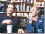 Dirk Benedict (Starbuck from the 1978 Battlestar Galactica) with Katee Sackhoff (Starbuck from 2004 'reimagined' series) at Starbucks 2