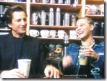 Dirk Benedict (Starbuck from the 1978 Battlestar Galactica) with Katee Sackhoff (Starbuck from 2004 'reimagined' series) at Starbucks 3