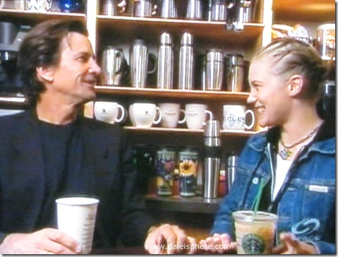 Dirk Benedict (Starbuck from the 1978 Battlestar Galactica) with Katee Sackhoff (Starbuck from 2004 'reimagined' series) at Starbucks 1