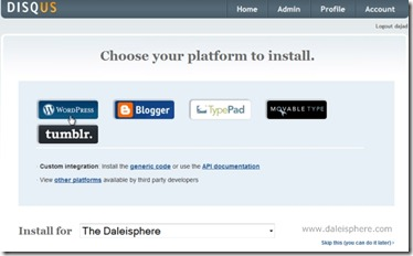 disqus - choose your platform to install