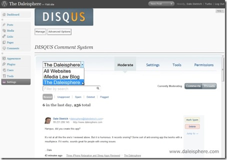 disqus - comments screen in WP 2.7 dashboard after comments imported