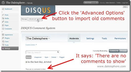 disqus - comment system before comment import