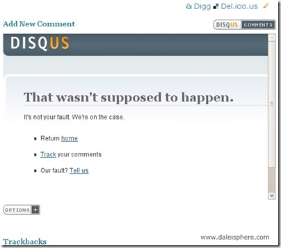 disqus - facebook connect - 'that wasn't supposed to happen' error