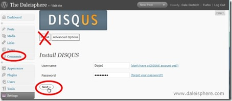 disqus - install screen