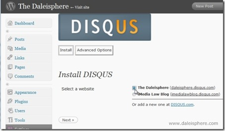 disqus - instal - select a website screen