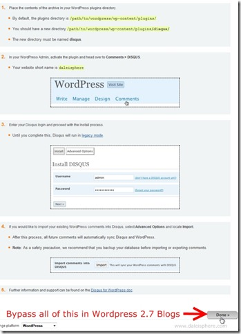 disqus - wordpress install instructions - pre wordpress 2.7