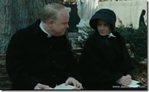 doubt (2008) philp seymour hoffman and amy adams talk on a bench