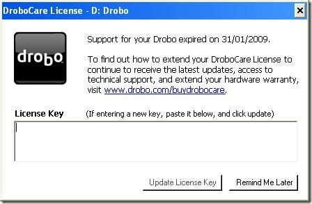 drobo - support for your drobo expired