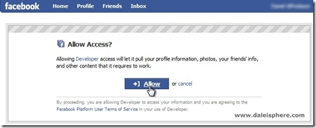 facebook connect - allow access screen