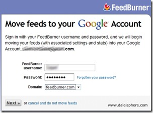 feedburner migration to google - move feeds to your google account page