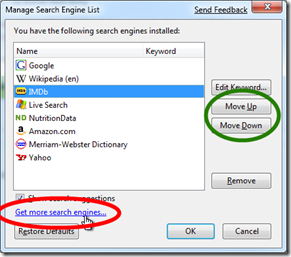 how i configure firefox - manage search engine list