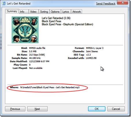 How to Convert AAC Songs to MP3s in iTunes - get info dialogue box