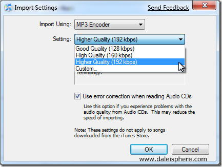 how to convert aac songs to mp3s in itunes - import settings dialogue box