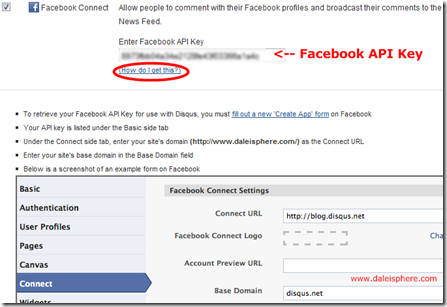 disqus - facebook connect settings page