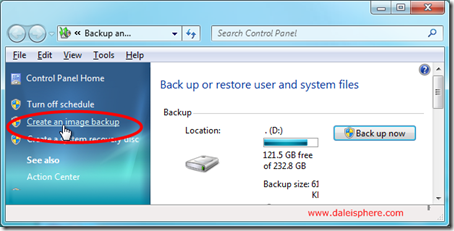 windows 7 - control panel - system and security - backup and restore - page