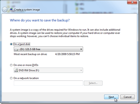 create a system image - where do you want to save the backup?