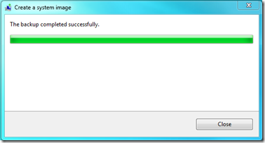 windows 7 - create system image - status bar