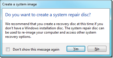 windows 7 image - create a system repair disc