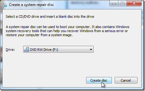 windows 7 - create a system repair disc - select drive