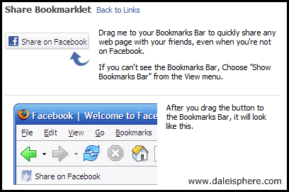 facebook share bookmarklet page