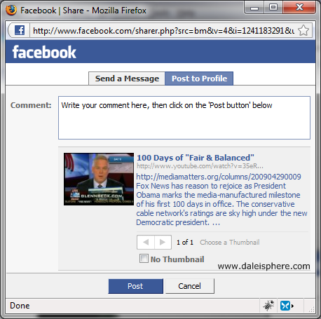share on facebook post to profile dialogue box