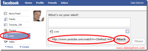 link option to share links in facebook