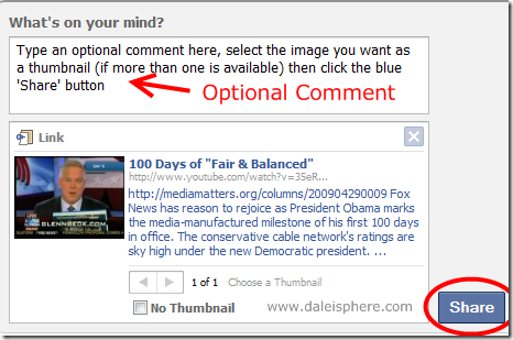 comment field and share button in links method of sharing links on facebook