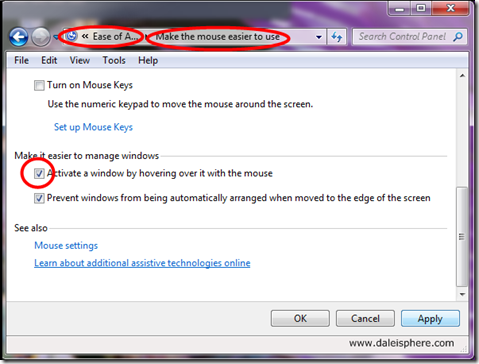 windows 7 - activate a window by hovering over it with the mouse - dialogue box