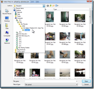 Vista Image Upload Screen