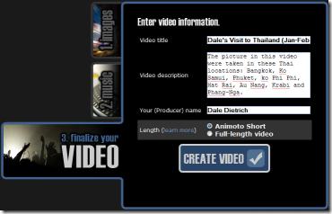 Animoto - Finalize - Video Information