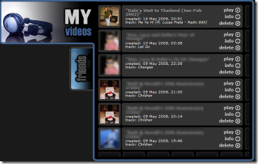 Animoto - My Videos Screen
