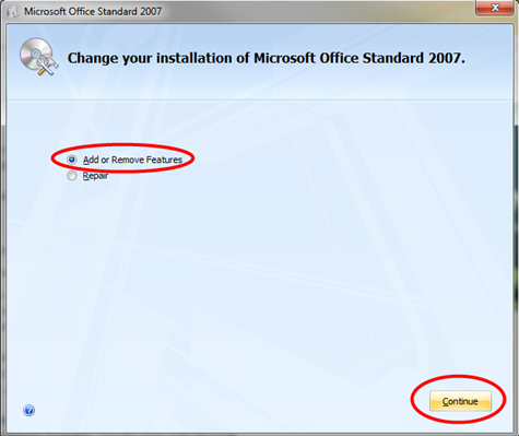 change your installation of microsoft office standard 2007
