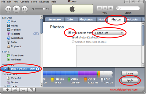 iTunes sync photos back to iPhone
