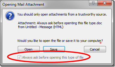 grayed-out and checked 'Always ask before opening this type of file' box