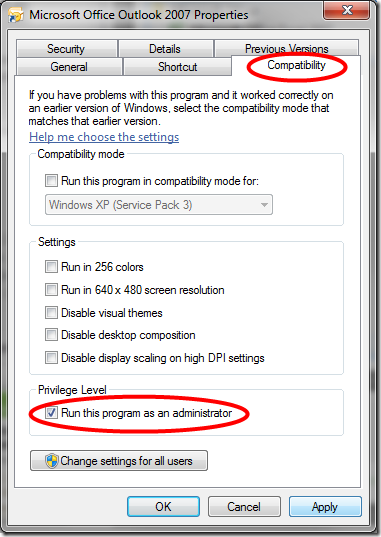 Compatibility Tab, 'Run this program as an administrator' checkbox in Microsoft Office Outlook 2007 Properties dialogue box