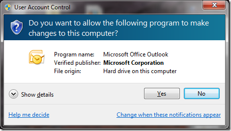 Windows 7 User Account Control Warning