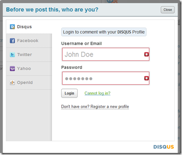 disqus registered user login screen