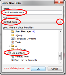create new folder dialogue in outlook 2010