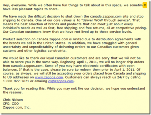 Zappos Canada Shuts Down