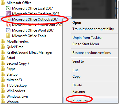 All Programs, Microsoft Office Outlook 2007, Properties option in Windows 7