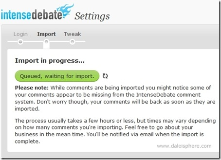intense debate installation on WordPress 2.7 - Import in progress - queing (2)