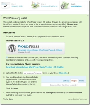 intense debate install in wordpress 2.7 - installation instructions