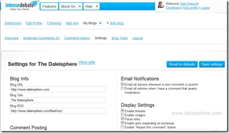 intense debate install in wordpress 2.7 - intense debate dashboard settings screen